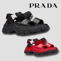PRADA Round Toe Rubber Sole Casual Style Studded Street Style