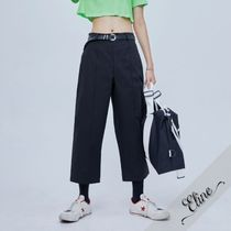 OPEN THE DOOR Street Style Plain Oversized Cropped Pants