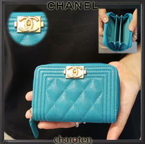 CHANEL BOY CHANEL Unisex Calfskin Plain Coin Purses