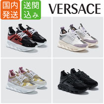 VERSACE Rubber Sole Lace-up Casual Style Street Style