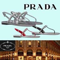 PRADA Round Toe Casual Style Street Style Plain Leather Flip Flops
