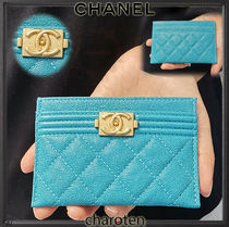 CHANEL BOY CHANEL Unisex Calfskin Plain Card Holders