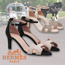 HERMES Open Toe Plain Leather Pin Heels With Jewels Elegant Style