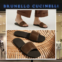 BRUNELLO CUCINELLI Open Toe Rubber Sole Casual Style Plain Leather Slippers