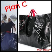Plan C Casual Style Leather Totes