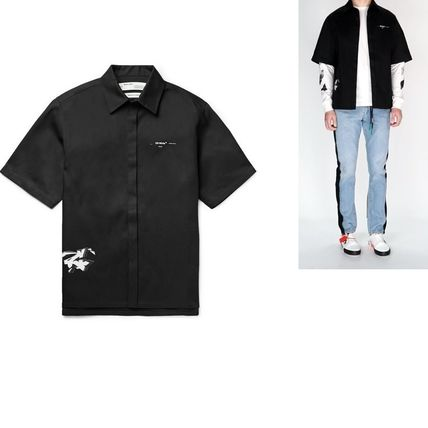 Off-White Shirts Button-down Street Style Plain Short Sleeves Shirts