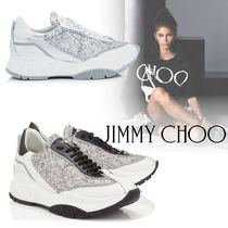 Jimmy Choo Plain Toe Rubber Sole Lace-up Casual Style Blended Fabrics