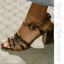 MARYAM NASSIR ZADEH Open Toe Street Style Leather Block Heels Home Party Ideas