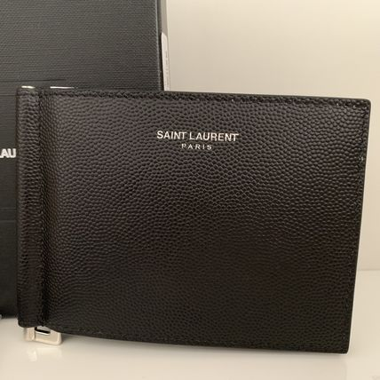 Calfskin Plain Folding Wallets