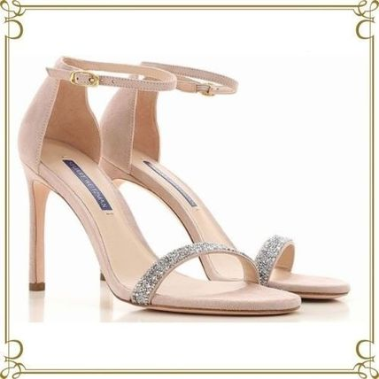 Open Toe Suede Pin Heels Elegant Style Heeled Sandals