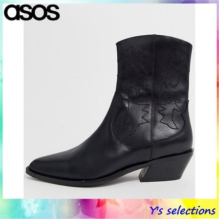 2733006cf8f ASOS 2019 SS Cowboy Boots Casual Style Street Style Plain Leather