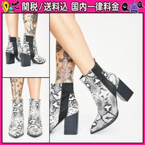 DOLLS KILL Casual Style Block Heels Python Ankle & Booties Boots