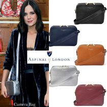 Aspinal of London Casual Style Calfskin Blended Fabrics Plain Shoulder Bags
