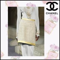 CHANEL Pencil Skirts Other Check Patterns Tweed Blended Fabrics