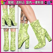 DOLLS KILL Casual Style Python Chunky Heels Ankle & Booties Boots