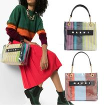 MARNI Stripes Casual Style Blended Fabrics A4 PVC Clothing Totes