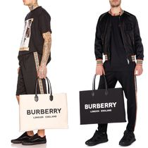 Burberry Unisex Canvas Blended Fabrics A4 Plain Totes