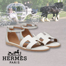 HERMES Open Toe Leather Elegant Style Sandals