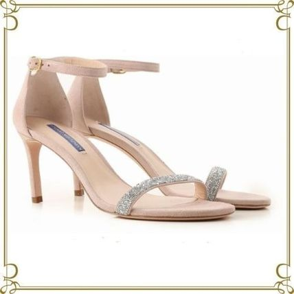 Open Toe Suede Elegant Style Heeled Sandals