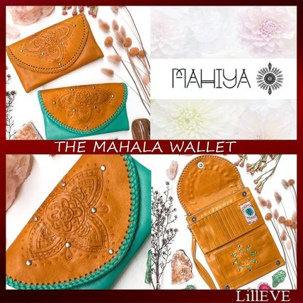 Tropical Patterns Studded Plain Leather Long Wallets