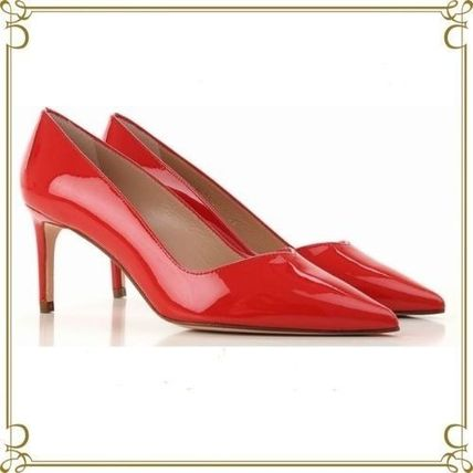 Enamel Party Style Pointed Toe Pumps & Mules