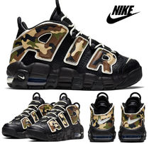 Nike AIR MORE UPTEMPO Unisex Petit Street Style Khaki Kids Girl Sneakers