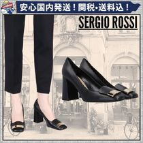 Sergio Rossi Square Toe Plain Leather Elegant Style Chunky Heels