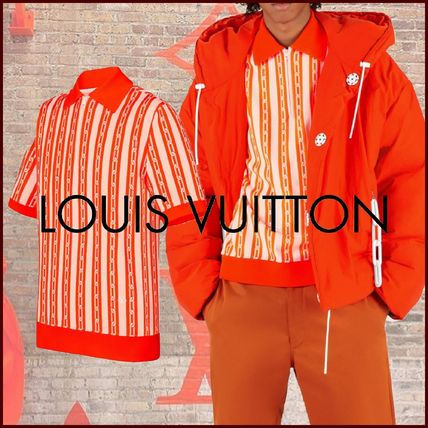Louis Vuitton Polos Stripes Blended Fabrics Street Style Bi-color Cotton
