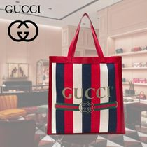 GUCCI Stripes Unisex Canvas Blended Fabrics A4 Totes