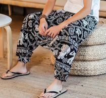 Flower Patterns Street Style Cotton Sarouel Pants