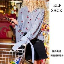 ELF SACK Stripes Flower Patterns Casual Style Long Sleeves Cotton
