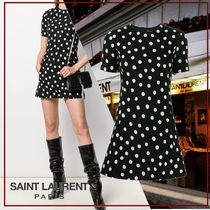 Saint Laurent Short Dots Dresses
