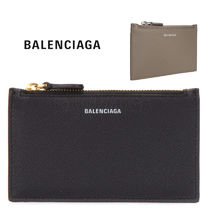 BALENCIAGA Unisex Plain Leather Card Holders