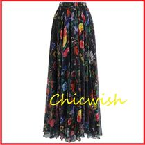 Chicwish Flower Patterns Maxi Chiffon Long Elegant Style Maxi Skirts