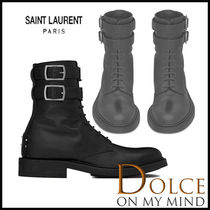 Saint Laurent Rubber Sole Casual Style Plain Leather Ankle & Booties Boots