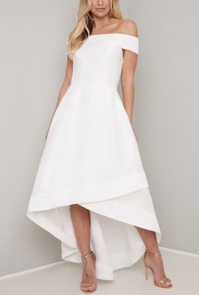 Flared Plain Medium Wedding Dresses
