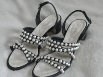 CHANEL ICON Stripes Open Toe Studded Leather Block Heels With Jewels