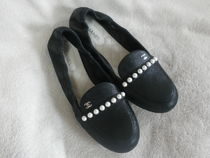CHANEL ICON Plain Toe Studded Plain Leather Block Heels With Jewels
