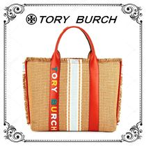 Tory Burch Other Check Patterns Saffiano Blended Fabrics A4 Straw Bags