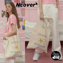 ncover Flower Patterns Casual Style Canvas A4 Plain Totes