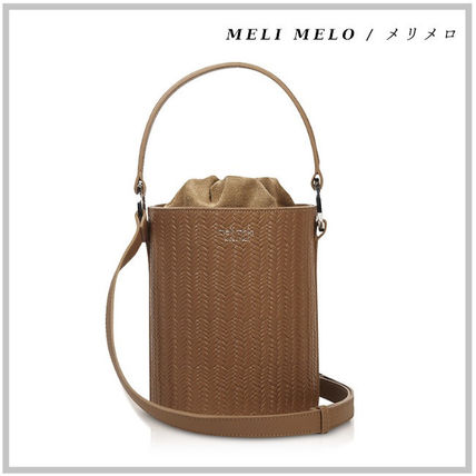 Street Style 2WAY Plain Leather Purses Straw Bags