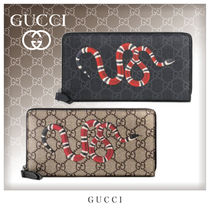 GUCCI GG Supreme Unisex Canvas Street Style Long Wallets