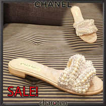 CHANEL ICON Blended Fabrics Plain Elegant Style Heeled Sandals