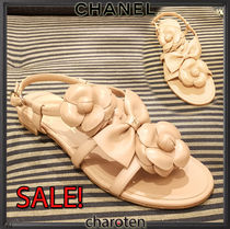 CHANEL ICON Open Toe Plain Leather Elegant Style Sandals
