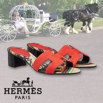 HERMES Open Toe Casual Style Leather Sandals