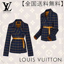 Louis Vuitton Short Other Check Patterns Wool Elegant Style Peacoats
