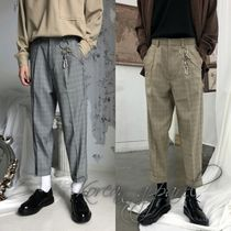 Slax Pants Glen Patterns Tartan Street Style Slacks Pants