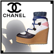 CHANEL Casual Style Blended Fabrics Plain Wedge Boots