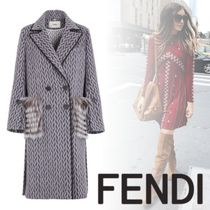 FENDI Wool Blended Fabrics Long Elegant Style Peacoats