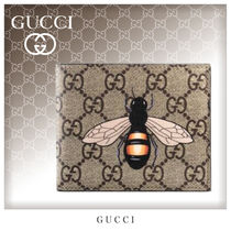 GUCCI GG Supreme Unisex Canvas Street Style Folding Wallets